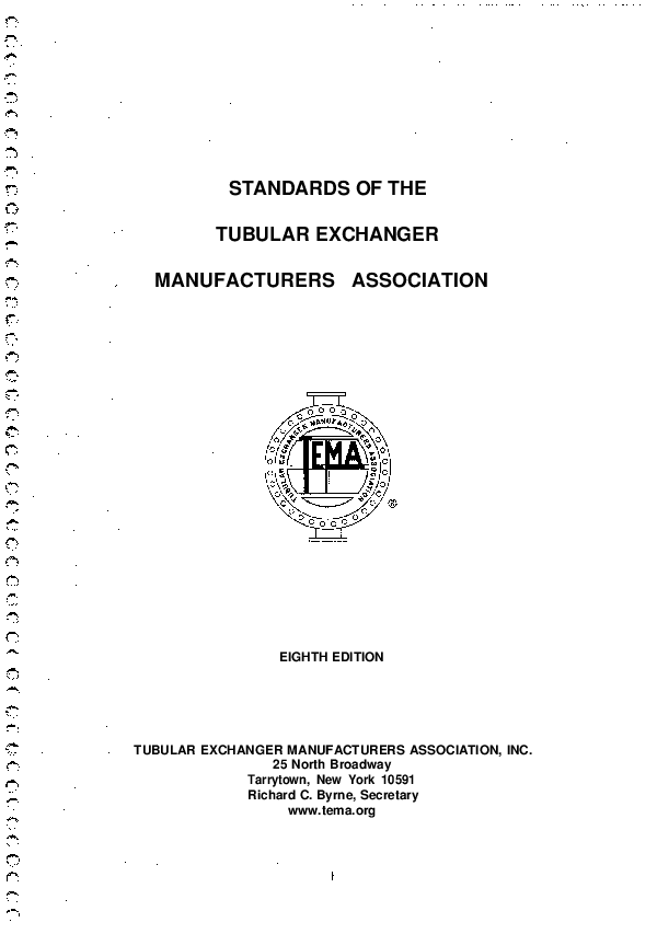 PDF) STANDARDS OF THE TUBULAR EXHANGER MANUFACTURERS ASSOCIATION