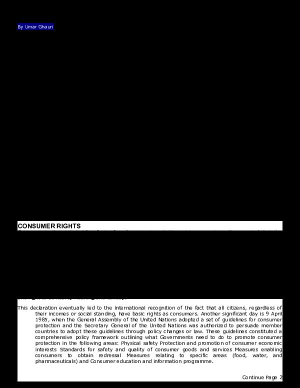 DOC) CONSUMER RIGHTS ACTIVITIES IN PAKISTAN   Umar Ghauri
