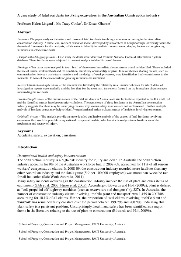 Excavator Research Papers Academia Edu