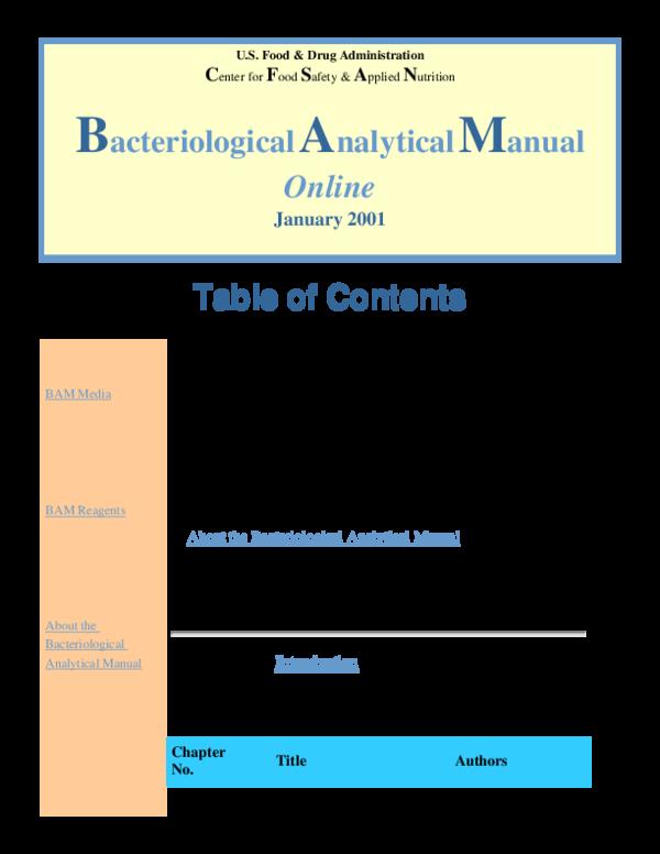 PDF) Bacteriological Analytical Manual | Heo Ngốc - Academia edu