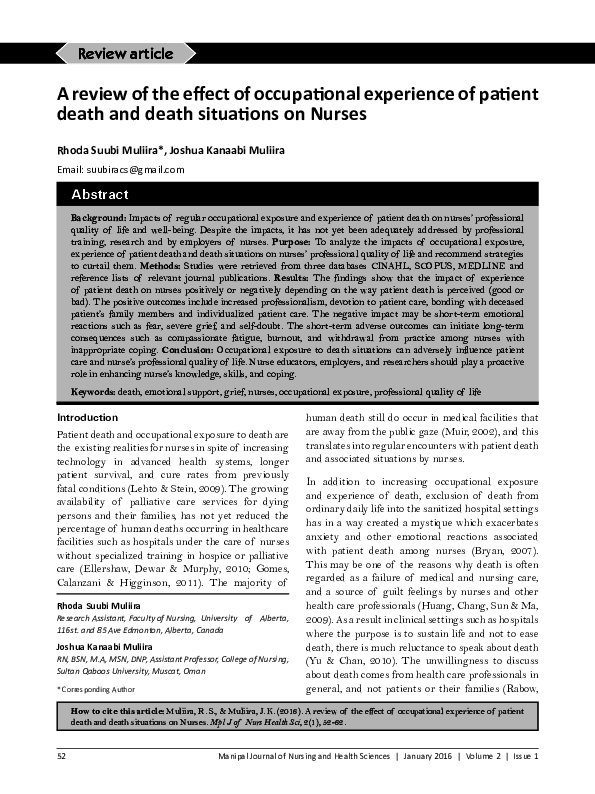 PDF) Muliira RS, et al: Nurses' experiences of patient death