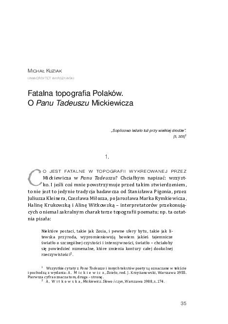 Pdf Michał Kuziakfatalna Topografia Polaków O Panu
