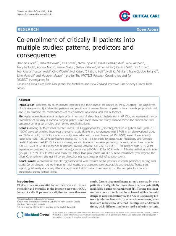 PDF) Co-enrollment of critically ill patients into multiple