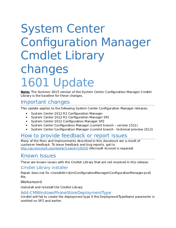 DOC) System Center Configuration Manager Cmdlet Library