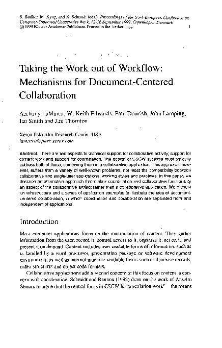 PDF) Taking the Work out of Workflow: Mechanisms for