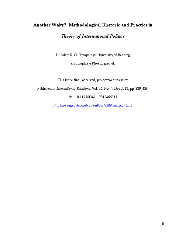 Theory Of International Politics Waltz Pdf