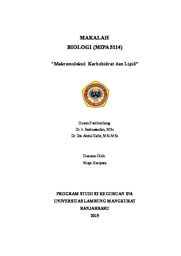 Doc Makalah Biologi Mipa 5114 Makromolekul Karbohidrat Dan Lipid Dosen Pembimbing Mutiara Cess Academia Edu