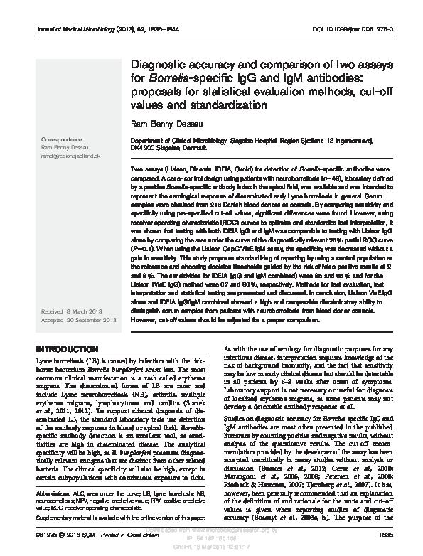 PDF) Diagnostic accuracy and comparison of two assays for Borrelia