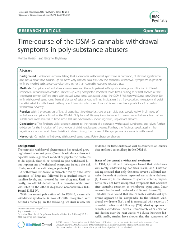 PDF) Time-course of the DSM-5 cannabis withdrawal symptoms
