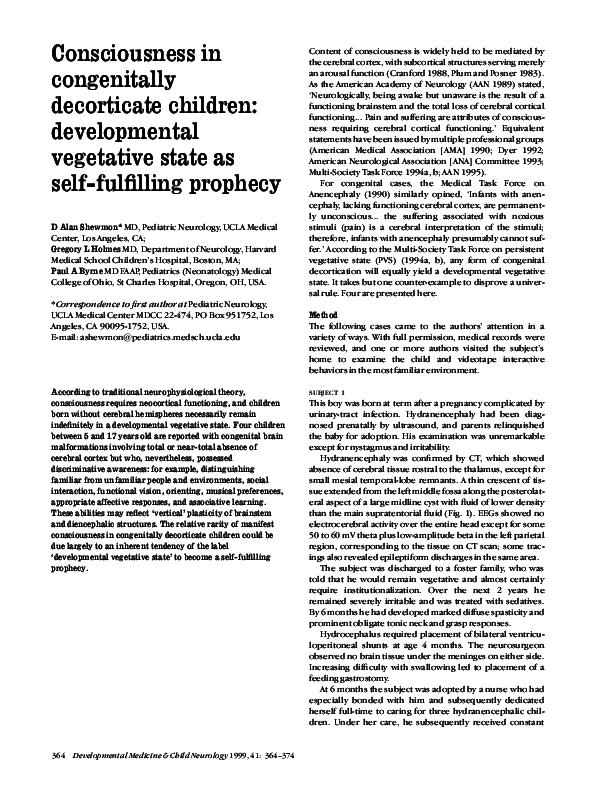 PDF) Consciousness in congenitally decorticate children