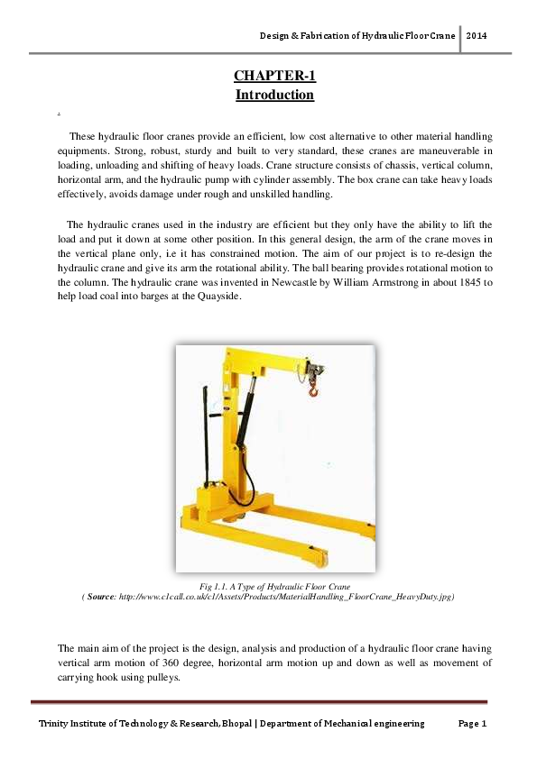 PDF) Design & Fabrication of Hydraulic Floor Crane 2014