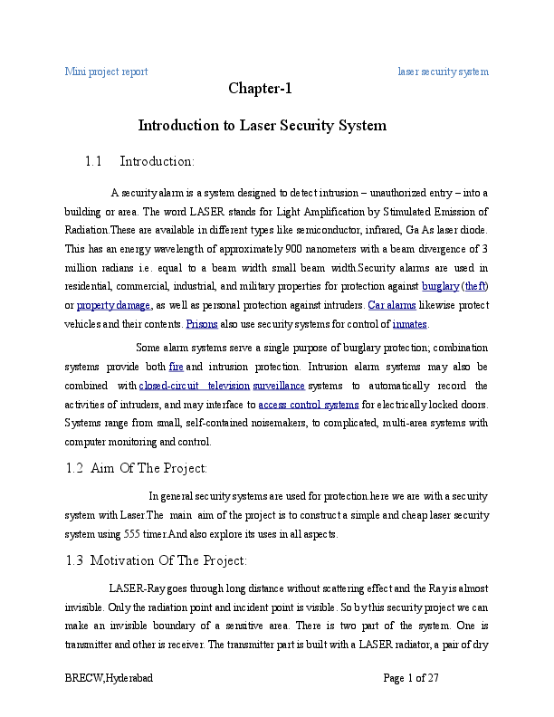 DOC) Chapter-1 Introduction to Laser Security System