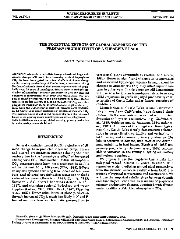 PDF) The Potential Effects of Global Warming on the Primary