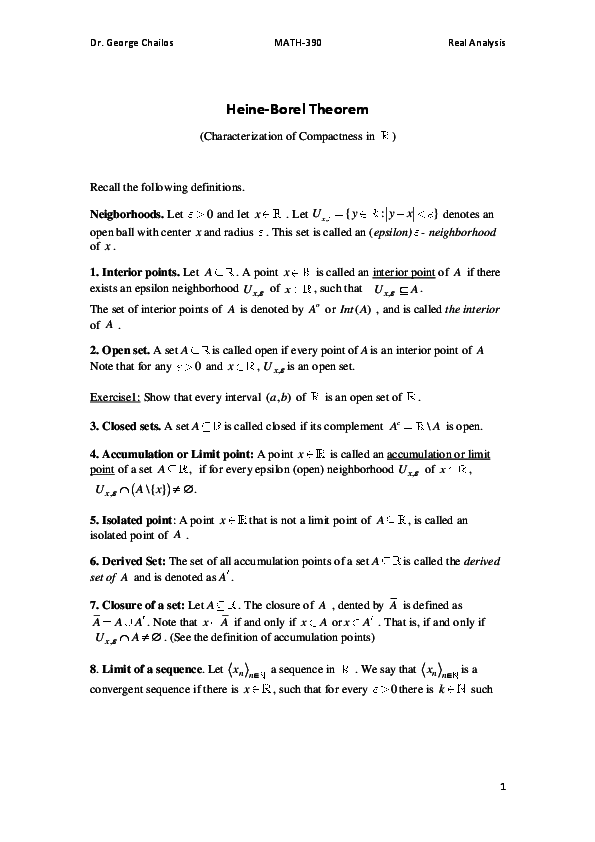 PDF) Heine-Borel Theorem (For a first course in Real Analysis