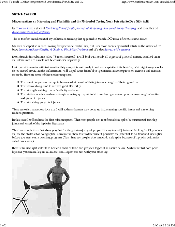 PDF) Stretch Yourself Misconceptions on Stretching and Flexibility
