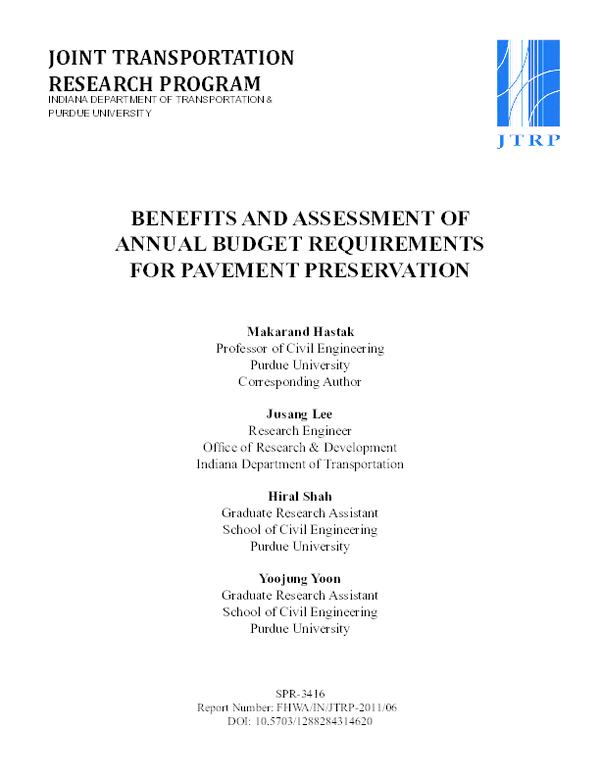 PDF) Benefits and Assessment of Annual Budget Requirements