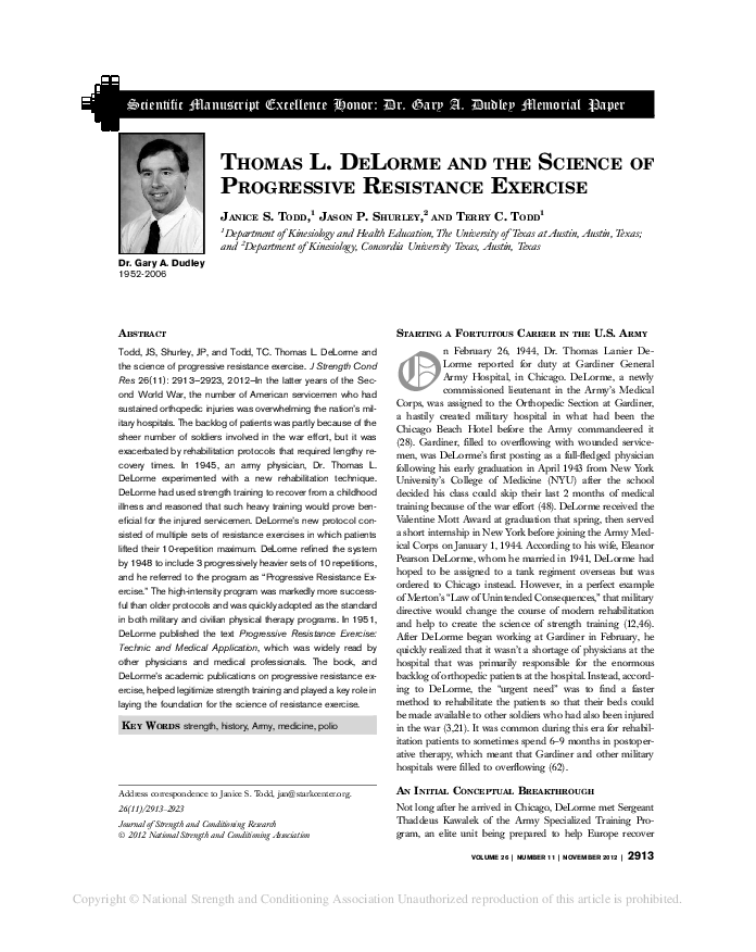 PDF) Thomas L  DeLorme and the Science of Progressive Resistance