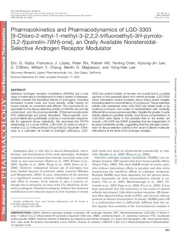 PDF) Pharmacokinetics and Pharmacodynamics of LGD-3303 [9-Chloro-2