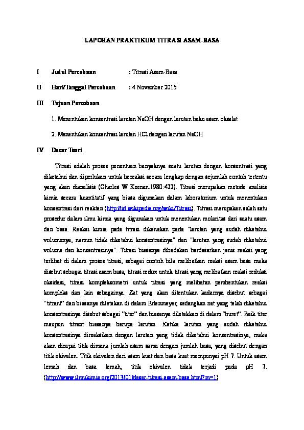 Doc Laporan Praktikum Titrasi Asam Basa Ellyana Firdaus Academia Edu
