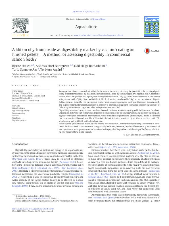 PDF) Addition of yttrium oxide as digestibility marker by