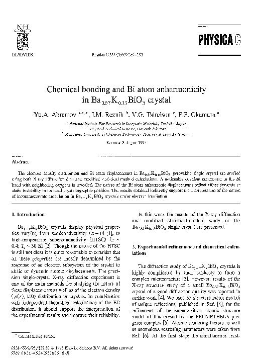 PDF) Chemical bonding and Bi atom anharmonicity in Ba0 87K0 13BiO3