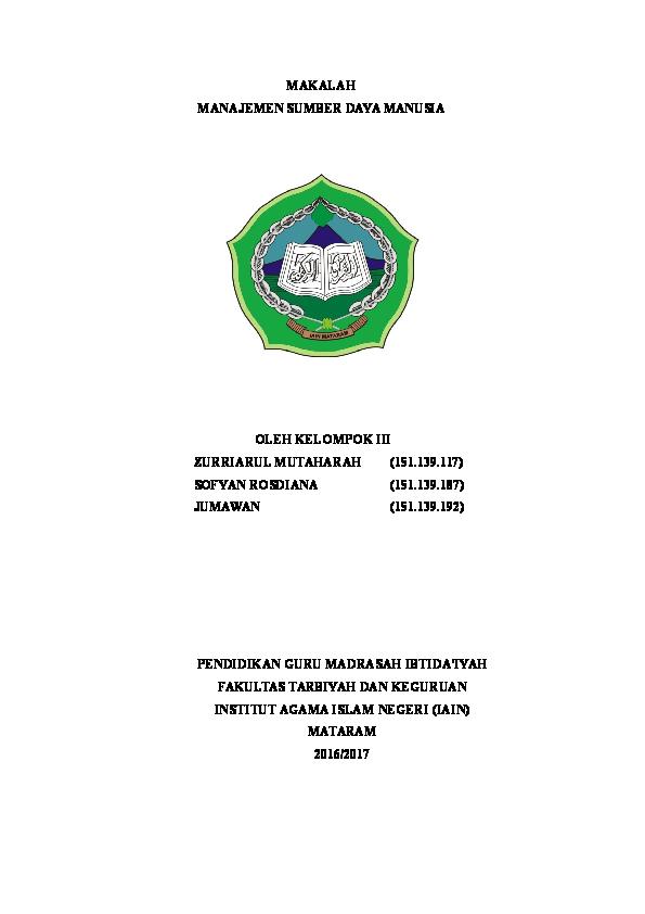 Cover Makalah Msdm Moh Hidayatulloh Academia Edu