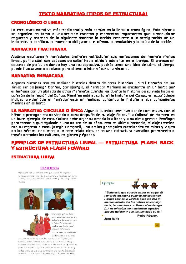 Doc Texto Narrativo Tipos De Estructura Patricia Morales