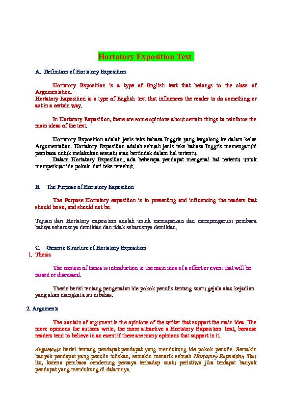 hortatory exposition beserta thesis argument dan recommendation
