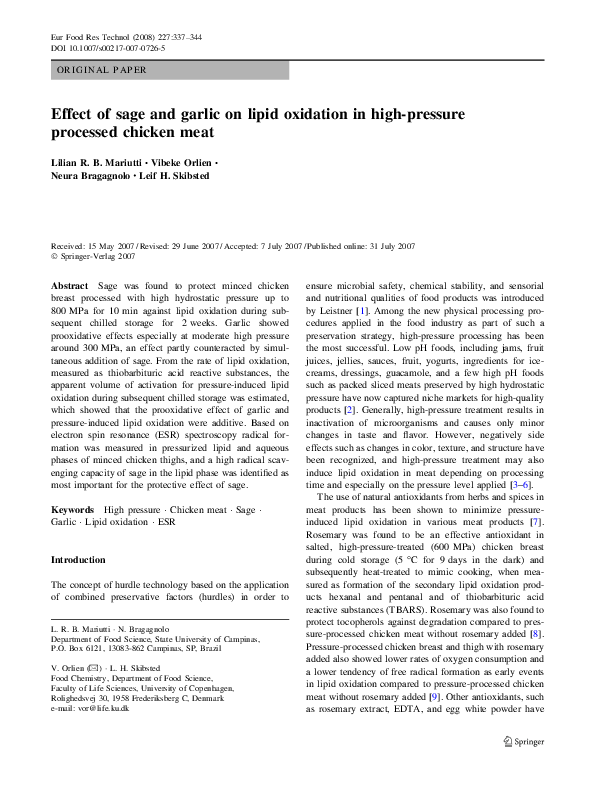 PDF) Effect of sage and garlic on lipid oxidation in high-pressure