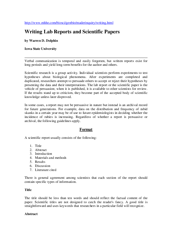 report discussion example