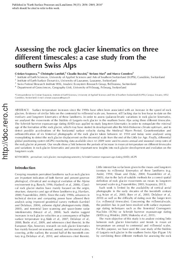 Pdf Assessing The Rock Glacier Kinematics On Three Different Timescales A Case Study From The Southern Swiss Alps M Conedera Christophe Lambiel And Stefano Mari Academia Edu