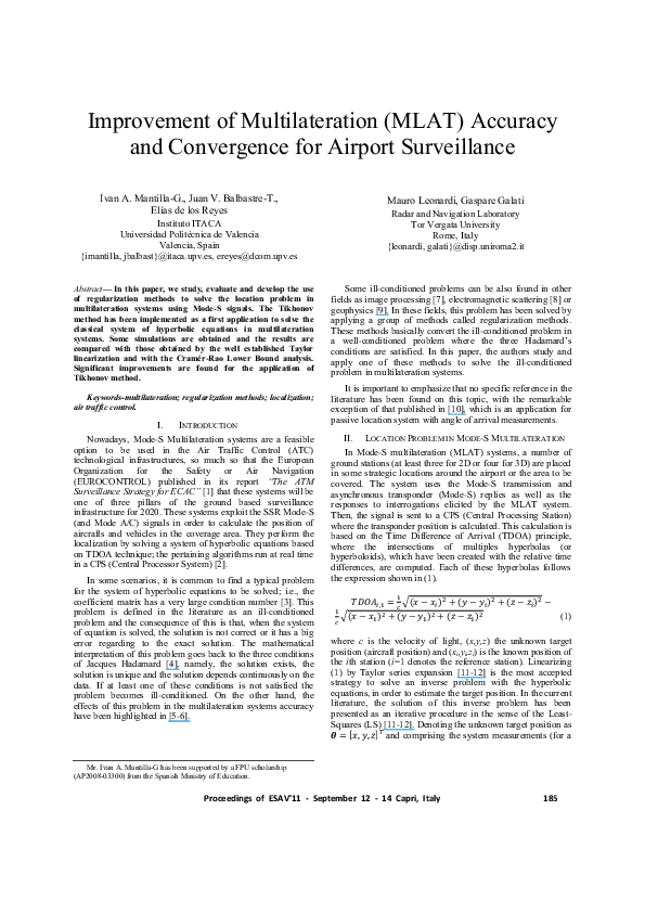 PDF) Improvement of multilateration (MLAT) accuracy and