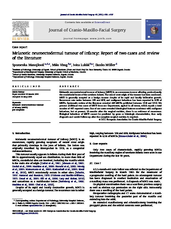 PDF) Melanotic neuroectodermal tumour of infancy: Report of