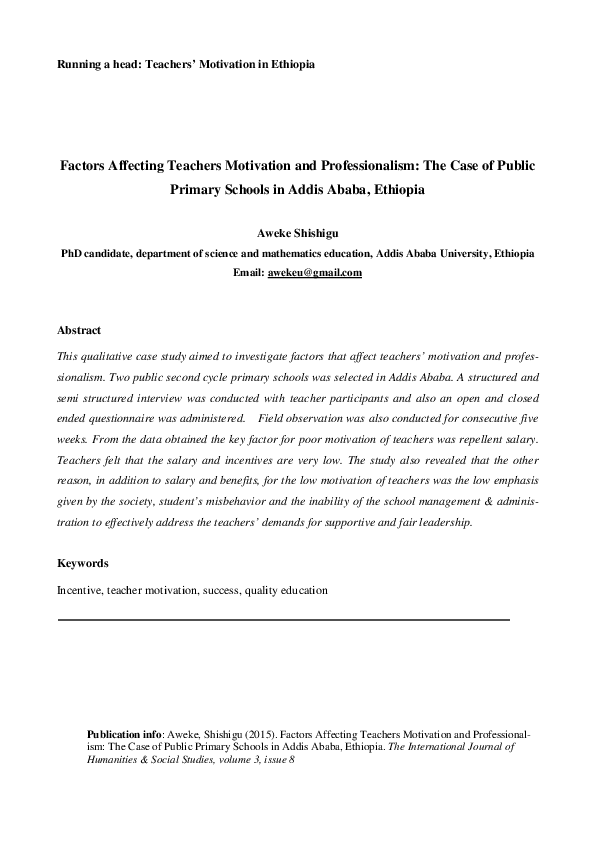 PDF) Factors Affecting Teachers Motivation and Professionalism: The