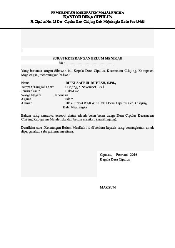 Doc Surat Keterangan Belum Menikah Rifki Saeful M