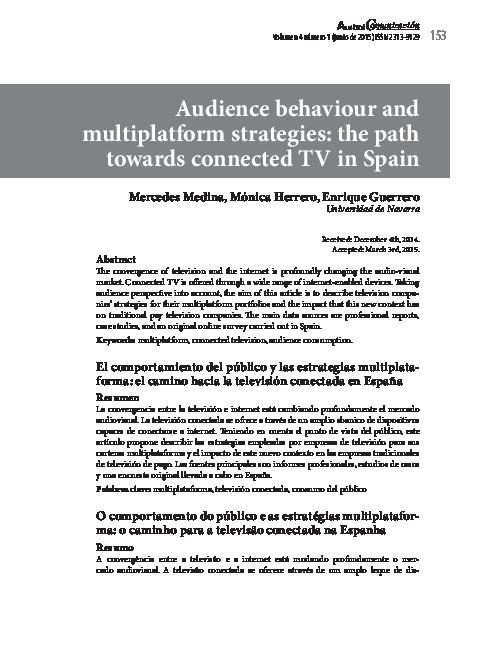 PDF) Audience behaviour and multiplatform strategies: the