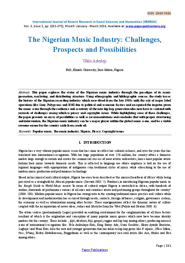 PDF) The Nigerian Music Industry: Challenges, Prospects and