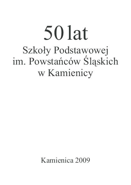 Pdf 50 Lat Szkoły Podstawowej Im Powstańców śląskich W