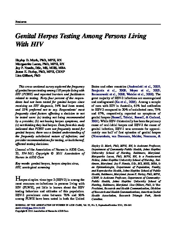 Herpes tested genital Genital Herpes