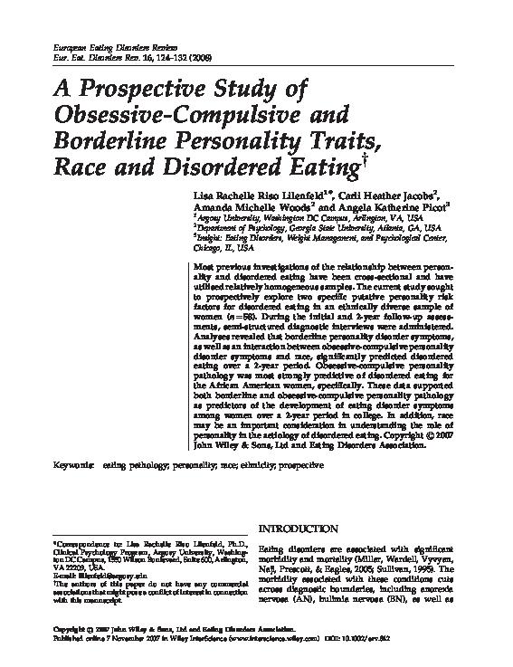 PDF) A prospective study of obsessive-compulsive and