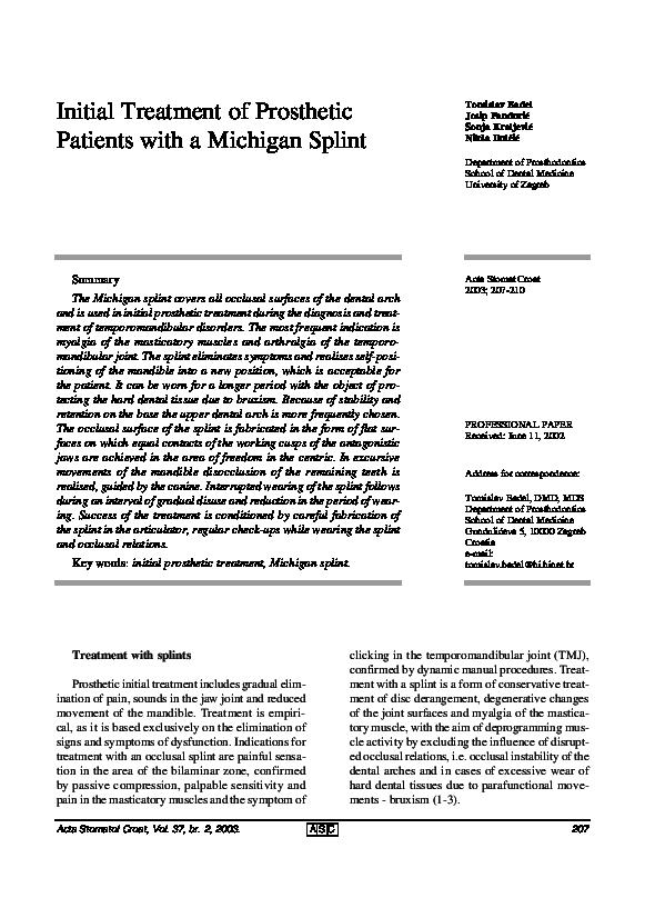 pdf initial treatment of prosthetic patients with a michigan splint viorel ion academia edu academia edu