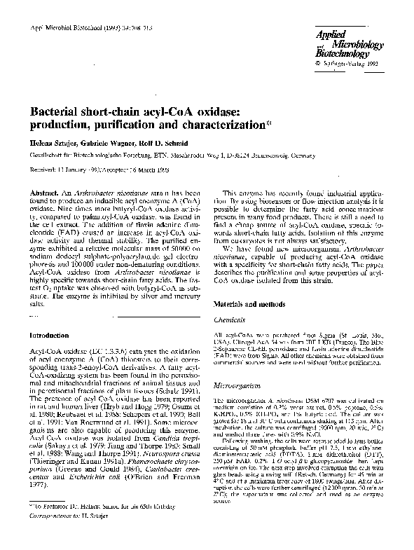 PDF) Bacterial short-chain acyl-CoA oxidase: production