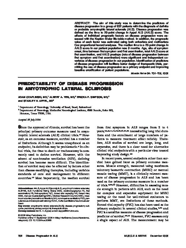 PDF) Predictability of disease progression in amyotrophic