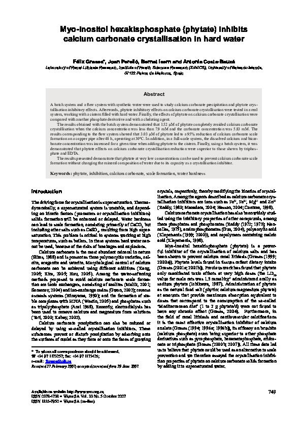 PDF) Myo-inositol hexakisphosphate(phytate) inhibits calcium
