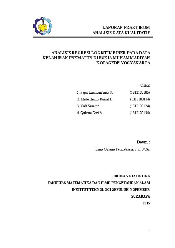 Doc Analisis Regresi Logistik Biner Pada Data Kelahiran Prematur Di Rskia Muhammadiyah Kotagede Yogyakarta Qulsum Dwi Anggraini Academia Edu