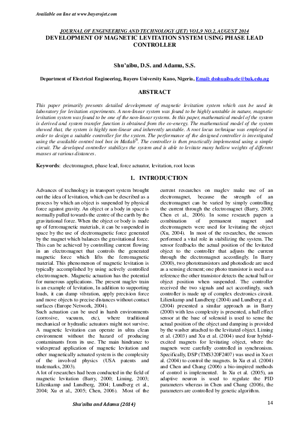 PDF) DEVELOPMENT OF MAGNETIC LEVITATION SYSTEM USING PHASE LEAD