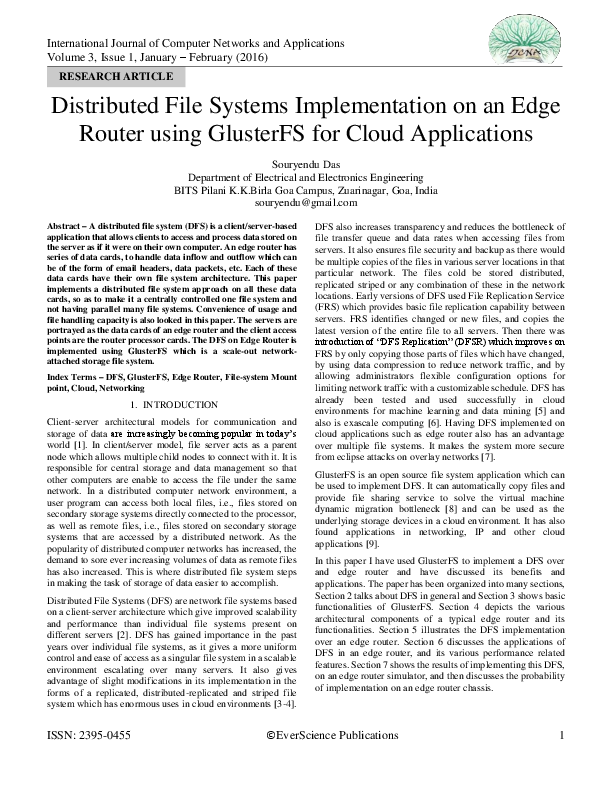 PDF) Distributed File Systems Implementation on an Edge