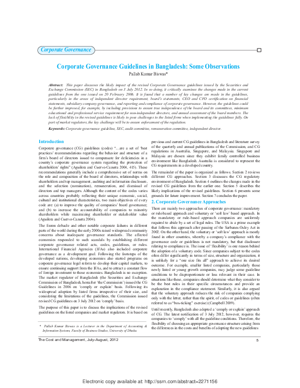 (PDF) Corporate Governance Guidelines in Bangladesh: Some