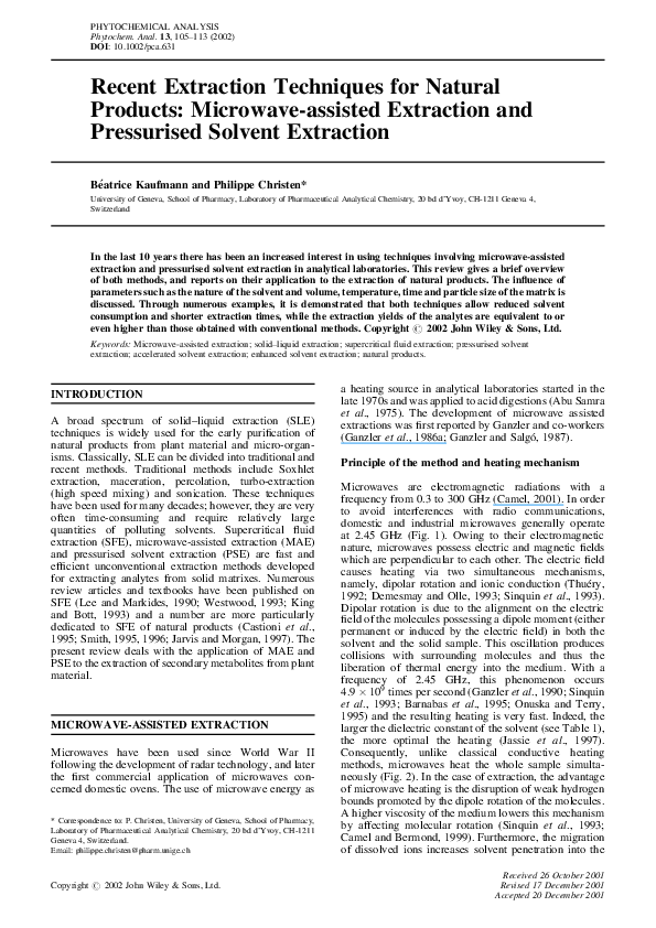 Pdf Recent Extraction Techniques For Natural Products Microwave Assisted Extraction And Pressurised Solvent Extraction Beatrice Kaufmann Academia Edu
