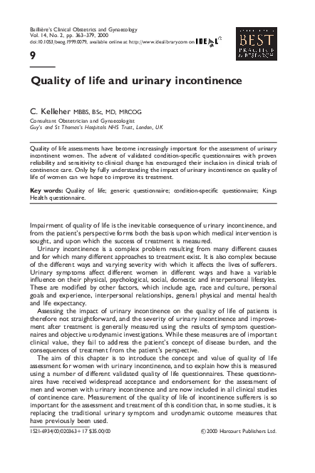PDF) Quality of life and urinary incontinence | Linda Cardozo